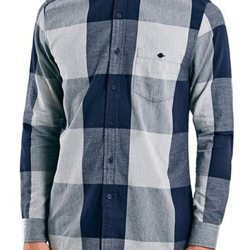 Men's Topman Slim Fit Herringbone Buffalo Check Shirt,