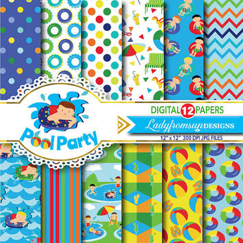 Boys Pool party digital paper pack, pool party background,Summer, scrapbook papers, background, swimming , chevron, Commercial-Personal Use