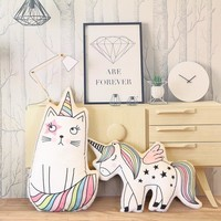 plush unicorn pillow cute hippocampe cat soft doll stuffed animal cartoon pillow home sofa decoration pillow & cushion kids toys