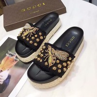 GUCCI Bee Women Fashion Platform Slipper Sandals Flats Shoes