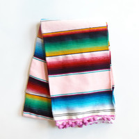 Luxury Glamper Pom Medium Serape Mexican Striped Throw Picnic Blanket, Lt. Pink/Magenta