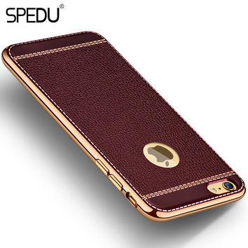 Spedu Litchi grain luxury Plating TPU silicone mobile phone case For iphone 6 6s plus 7 Plating Frame clear cover For iphone6 7