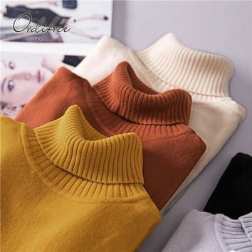 Ordifre 2018 Autumn Winter Jumper Women Sweaters and Pullovers Long Sleeve White Slim Turtleneck Knitted Sweater Pull Femme
