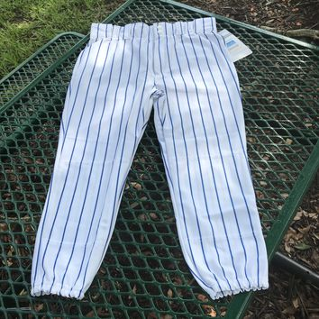AUGUSTA SPORTS WEAR NEW Youth White & Blue Striped Baseball Pants, Size Medium