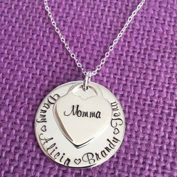 Mom Necklace - Mothers day gift - Gift for mom - Kids name necklace - Sterling silver - Mom - Grandma - Gift - Name disc - Stacked