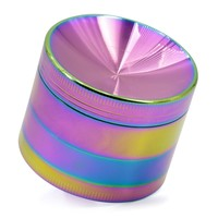 4 Layers Zinc Alloy Rainbow Color Concave Herb Tobacco Weed Grinder Smoking Weed Pipe for Hookah Shisha Narguile Smoking
