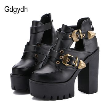 Gdgydh 2018 Spring Autumn Women Pumps Round Toe Platform Thick High Heels Women Shoes Casual Cut-outs Fashion Buckle Size 35-40