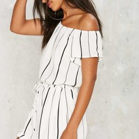 Somewhere Fast Off-the-Shoulder Romper
