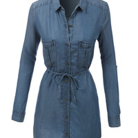LE3NO Womens Long Sleeve Chambray Denim Shirt Dress with Pockets (CLEARANCE)