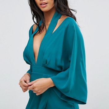 ASOS PETITE Kimono Sliced Midi Dress at asos.com
