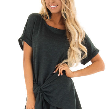 Dark Emerald Two Tone Short Sleeve Top with Front Side Tie