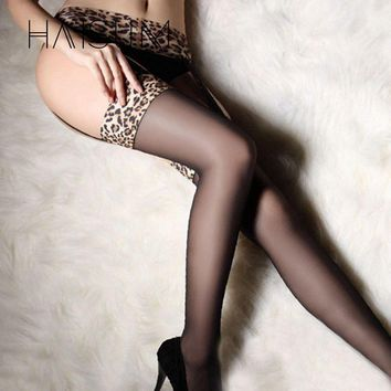 haisum 2017 New Garter Stocking for Women Hot Sheer Tight Slim Lace Leopard Stockings Transparent Over Knee Stocking HN35