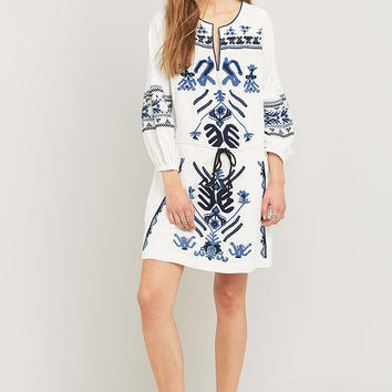 Free People Anouk Embroidered Ivory Mini Dress - Urban Outfitters