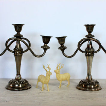 silver plate candelabra // pair of antique candle holders // ianthe silver // england // L