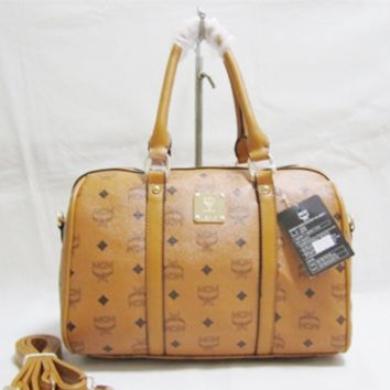 MCM Women Leather Luggage Travel Bags Tote Handbag Brown G-YJBD-2H