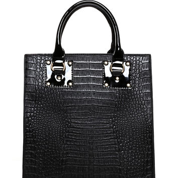 Mock Croc Square Patent Tote Bag