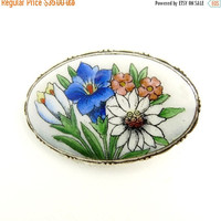 Art Nouveau Silver & Enamel Wildflower Brooch