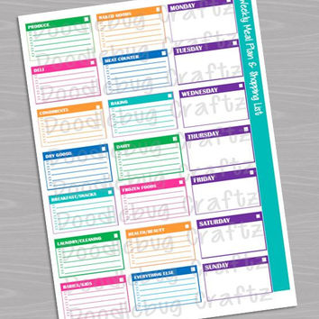 The EASY Life - Grocery Shopping List and Meal Planner Template - INSTANT DOWNLOAD - Sorted by Section - pdf