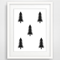 Printable Woodland Nursery Art Print Minimalist Scandinavian Nursery Black and White Wall Art Modern Instant Download Poster