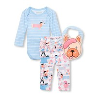 Baby Girls Paris Puppy Bodysuit, Leggings And Bib 3-Piece Playwear Set