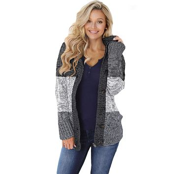 Winter Gray Hooded Button Cable Knit Cardigan