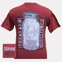 New Texas A&M Aggies Preserved Perfection Mason Jar Comfort Colors Girlie Bright T Shirt