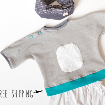 Baby sweatshirt | French terry blouse | japanese style sweater | Hipster baby clothing | Unisex clothing. 3 - 12 months
