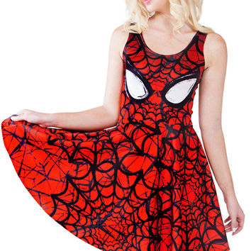 NEW  1128 Sexy Girl Women Summer Red Comics Cobweb Spider-man 3D Prints Reversible Sleeveless Skater Pleated Dress