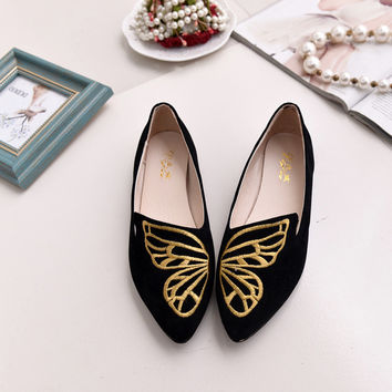 2017 Women Pointed Toe Tods Butterfly Embroidery Shoes [10761262863]