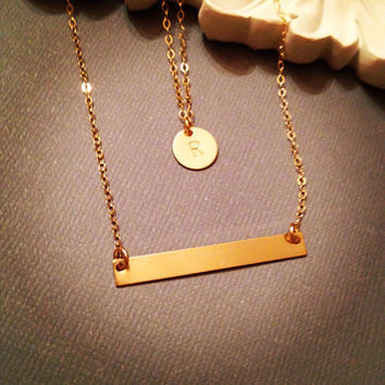 Set of Two 2, Gold Filled Personalized Initial and Long Bar Necklace, Simple, Everyday, Dainty Jewelry