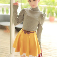 FREE SHIPPING Lace Hem Knit Material Yellow Skirt Women Dress from DressLoves