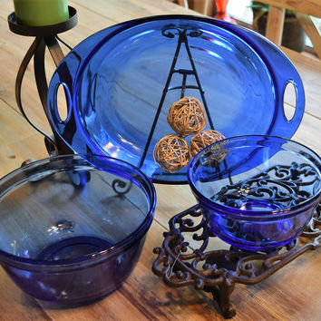 Anchor Hocking Cobalt Blue Baking Dish amd Mixing Bowls