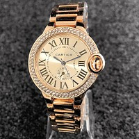 "Hot Sale ""Cartier"" Popular Women Chic Diamond Business Movement Watch Wristwatch Rose Golden"