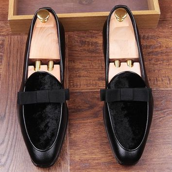 New luxury Design trendsetter pointed Bowtie Flats Shoes Male Mixed color Wedding Prom Pageant Quinceanera Business Oxford shoes