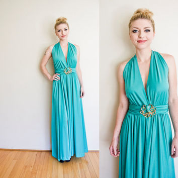 Vintage 1970s Dress - Amazing Teal OCTOPUS Plunging Disco Gown 70s - Medium / Small