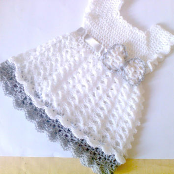 White an Gray Baby Dress, Girl Clothes,  Baby frock,baby Clothes, Crochet Infant Outfit, Infant Dress,Newborn Outfit, Holiday Baby Dress