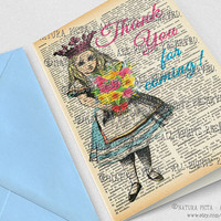 Alice thank you Greeting Card - 4x6 inches -Alice Birthday Invitation-Alice in Wonderland card-Stationery card-design NATURA PICTA NPGC091