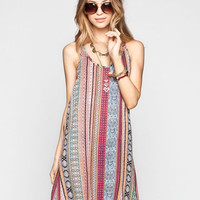 Full Tilt Ethnic Print Slip Dress Multi  In Sizes