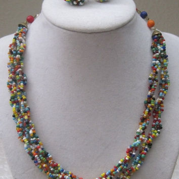 Vintage Colorful Beaded Necklace And Pierced Earring Set, Boho Chic, Reggae