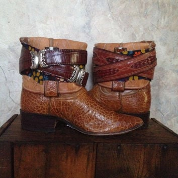 JUSTIN upcycled western cowboy boots womens size 6
