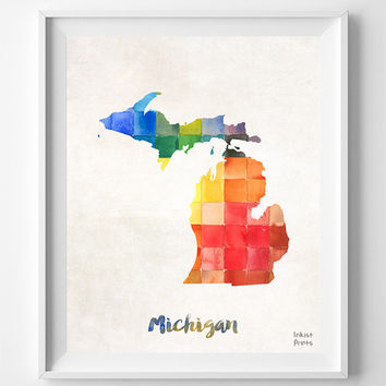 Michigan, Map, Print, Lansing, Home Town, Dorm, Art, USA, Poster, Watercolor, Painting, States, America, Wall Decor, Watercolour [NO 851]