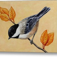 Chickadee And Autumn Leaves Acrylic Print