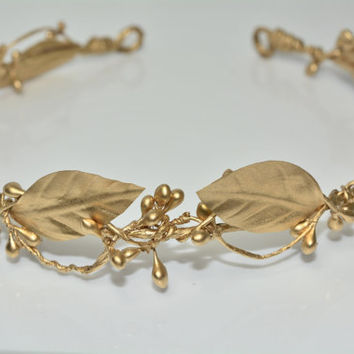 Gold Crown,Gold Leaf Crown,Greek Gold Crown,Wedding Crown,Bridal Flower Crown,Gold Laurel Crown,Grecian Goddess Crown,Greek Goddess Crown