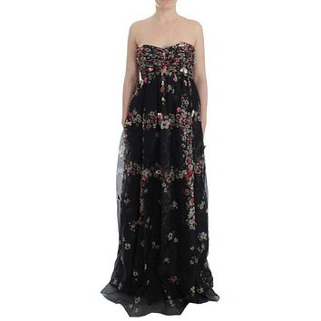 Dolce & Gabbana Masterpiece black floral print silk runway dress
