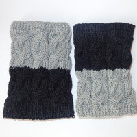Knitted BKnitted Boot Cuffs Reversible 2 in 1 Grey And Black- Boot Socks Boot Topper Leg Warmer Or Choose Your Color