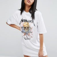 ASOS T-Shirt Dress With Metallica Print at asos.com