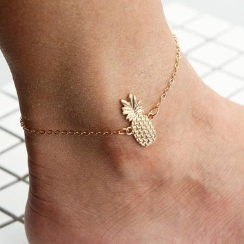 Bohemia style cute crystal pineapple anklet