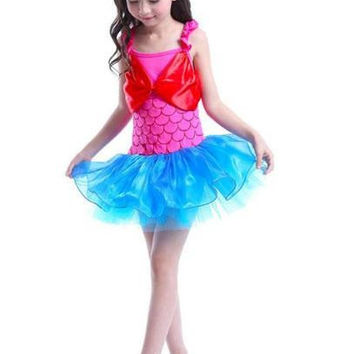 Girls Dance Tutu Dress Mermaid Costume