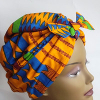 Cotton,African print,orange,blue,burgundy,fashion,vintage style,designer,turban,hat,head scarf,head wrap. sz,L. Free shipping.