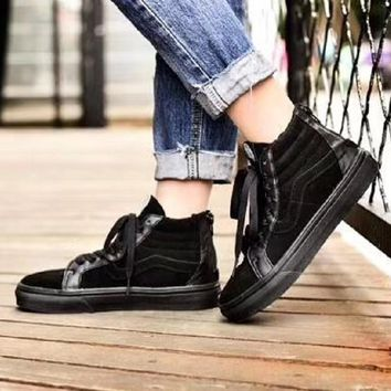 Vans Sk8-Hi Zip Classic leather zipper all black plus cashmere casual shoes